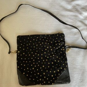 Black fold over clutch with gold design
